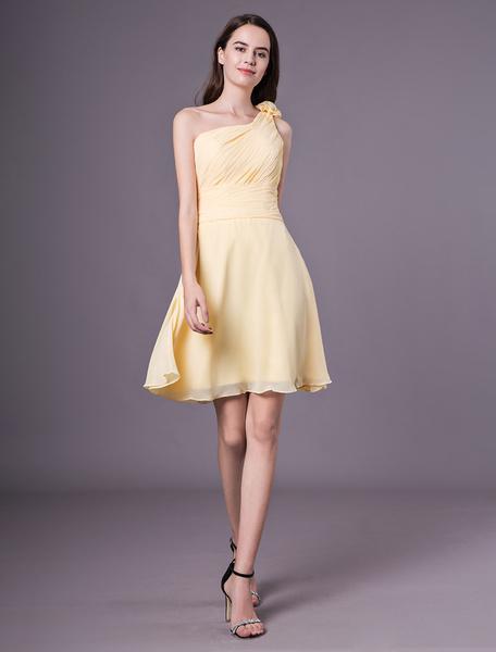 Milanoo Short Bridesmaid Dresses Daffodil One Shoulder Chiffon Wedding Party Dress
