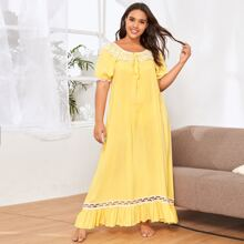 Plus Tie Front Lace Trim Ruffle Hem Nightdress