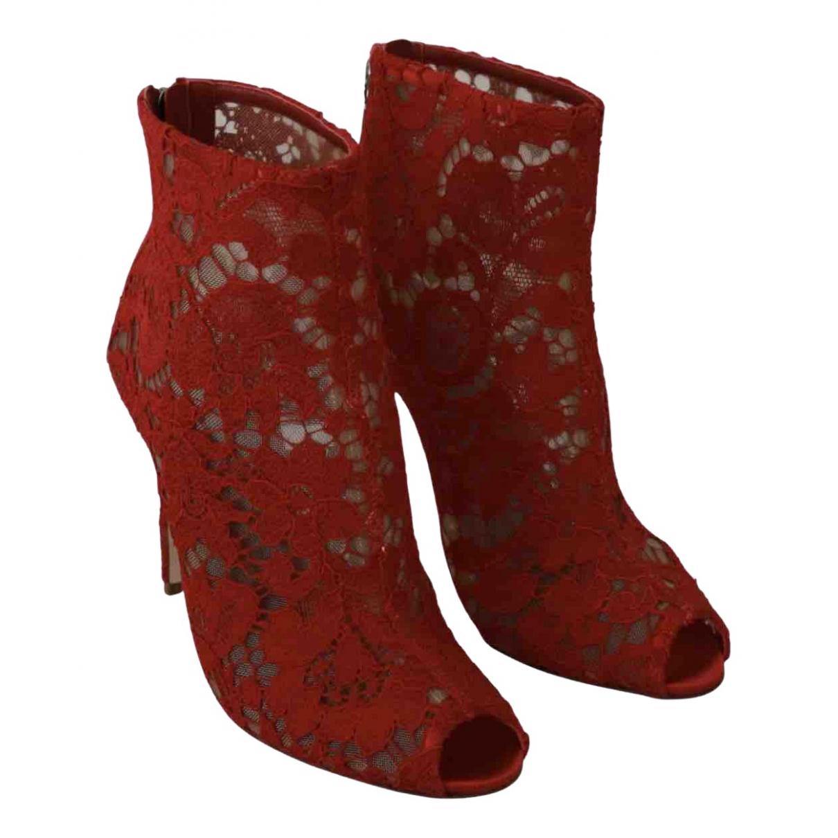 Dolce & Gabbana \N Stiefeletten in  Rot Leinen