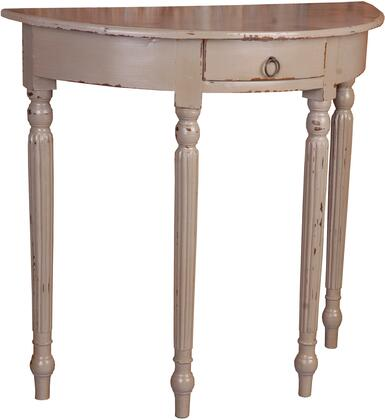 CC-TAB2272LD-WW Rounded Front Console Table with Distress Details  Wood Construction  Decorative Hardware  Simple Pull  Storage Drawer and Wooden