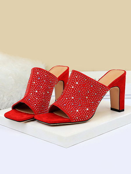 Milanoo Womens Red Suede Sandals Upper Black Open Square Toe Chunky Heel Shoes