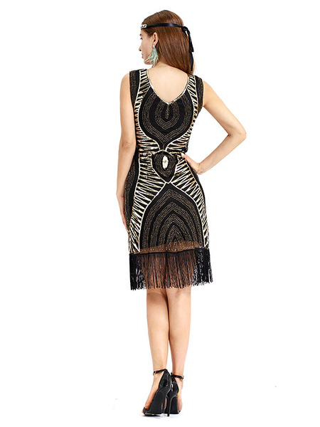 Milanoo 1920s Fashion Style Outfits Flapper Dress Black Gold Great Gatsby Costume Sequin Fringe Dress Women's Retro 20s Party Dress