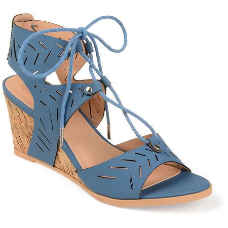 Journee Collection Womens Minny Pumps Wedge Heel, 7 Medium, Blue