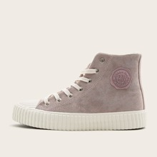 Letter Patch Lace-up Front Wide Fit Sneakers