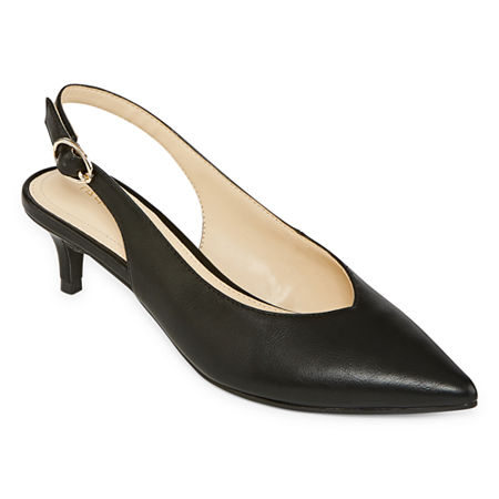Liz Claiborne Womens Quebec Buckle Pointed Toe Kitten Heel Pumps, 6 1/2 Medium, Black