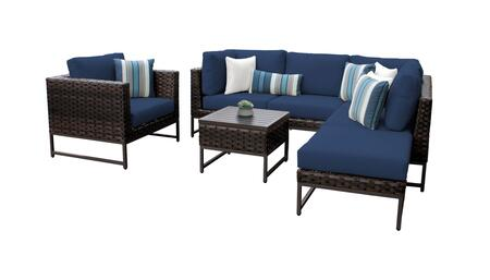Barcelona BARCELONA-07f-BRN-NAVY 7-Piece Patio Set 07f with 2 Corner Chairs  1 Club Chair  2 Armless Chairs  1 Coffee Table and 1 Ottoman - Beige and