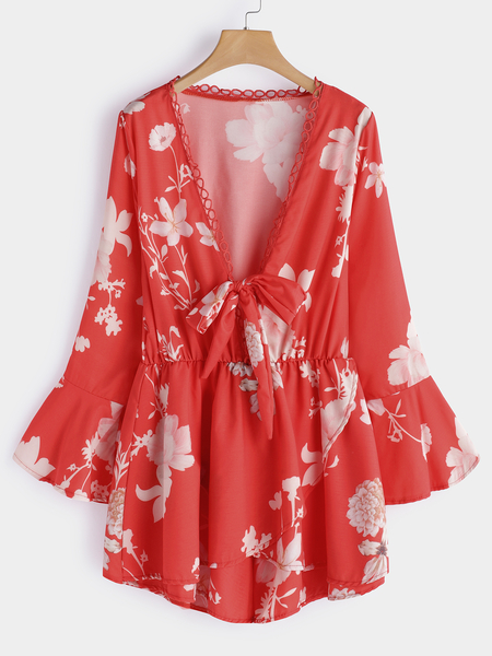 Yoins Red Random Floral Print Deep V Neck Long Bell Sleeves Playsuits