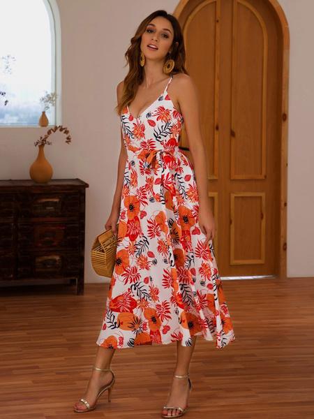 Milanoo Vestido de verano floral de impresion sin respaldo de las mujeres vestido de deslizamiento sexy