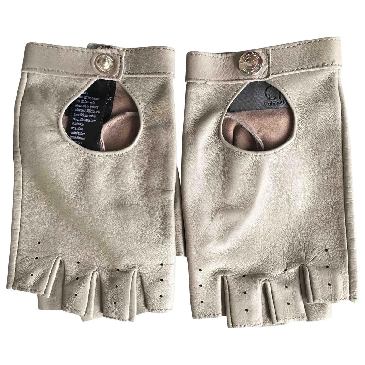 Calvin Klein \N Handschuhe in  Grau Leder