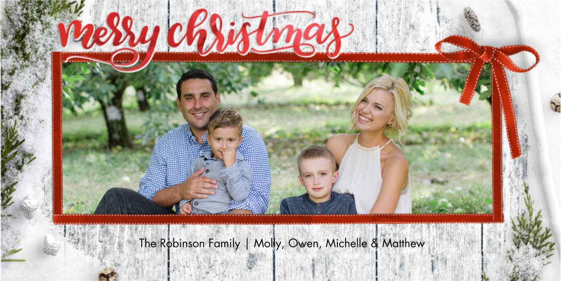 Christmas Photo Cards Flat Glossy Photo Paper Cards with Envelopes, 4x8, Card & Stationery -Christmas Ribbon Rustic Script by Tumbalina