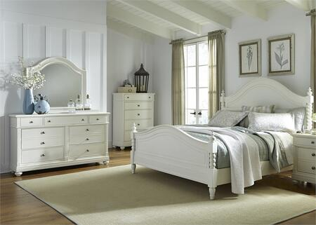 Harbor View II Collection 631-BR-QPSDMC 4-Piece Bedroom Set with Queen Poster Bed  Dresser  Mirror and Chest in Linen