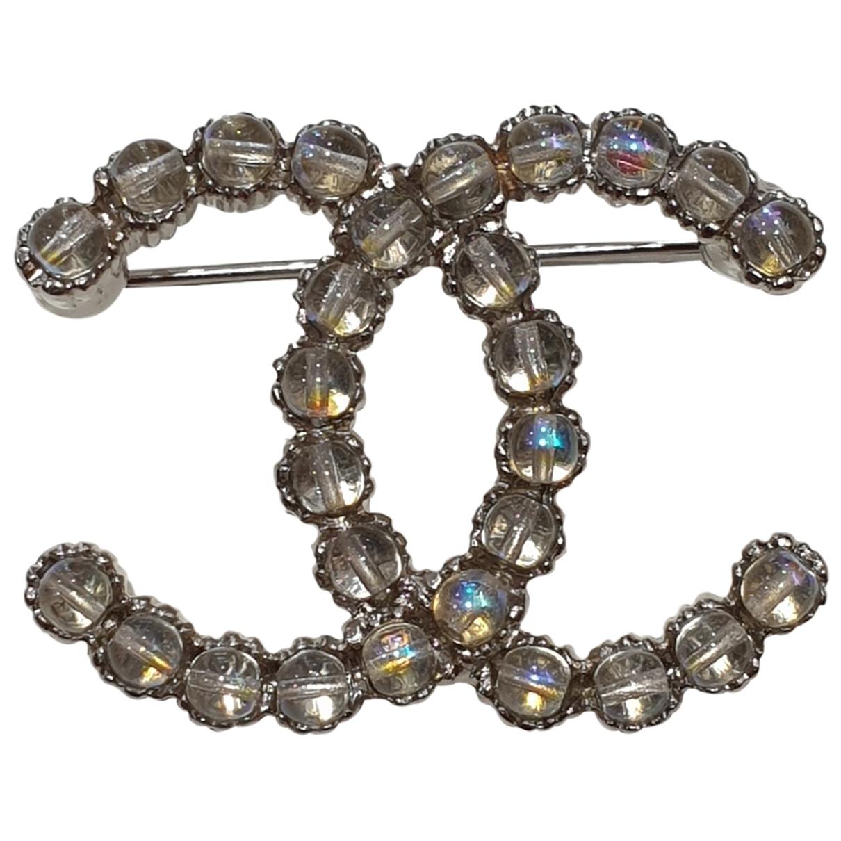 Chanel \N Brosche in  Silber Stahl