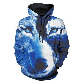 Wolf 3D Print Kangaroo Pocket Pullover Hoodie