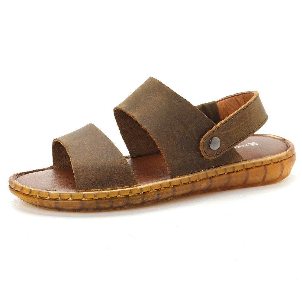 Men Retro Color Genuine Leather Non Slip Soft Casual Beach Sandals