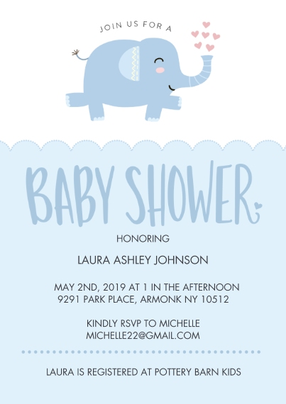 Baby Shower Invitations 5x7 Cards, Premium Cardstock 120lb with Elegant Corners, Card & Stationery -Baby Shower Dancing Elephant by Tumbalina