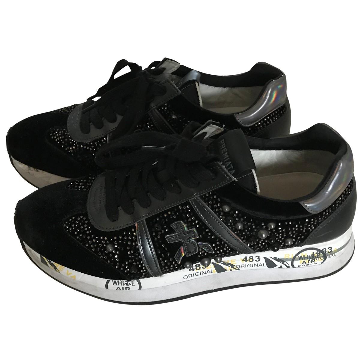 Premiata - Baskets   pour femme en velours - noir