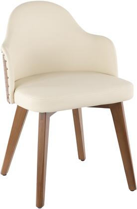 Ahoy Collection CH-AHOYWL+CR Dining Chair with Brass Nail Head Trim  Walnut Tapered Legs  Mid-Century Modern Style  Bamboo Wood Back and Faux Leather