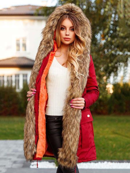Milanoo Abrigo largo para mujer Negro con capucha Manga larga Bolsillos Ropa de abrigo informal de invierno