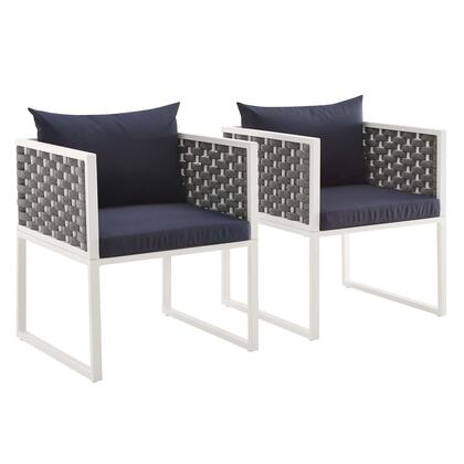 Stance Collection EEI-3183-WHI-NAV-SET Set of 2 Dining Armchair Outdoor Patio Aluminum in White Navy