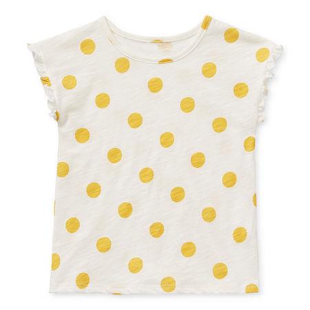 Okie Dokie Toddler Girls Short Sleeve T-Shirt, 3t , White