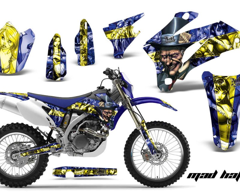 AMR Racing Dirt Bike Graphics Kit Decal Wrap For Yamaha WR250F 2007-2014 WR450F 2007-2011áHATTER YELLOW BLUE