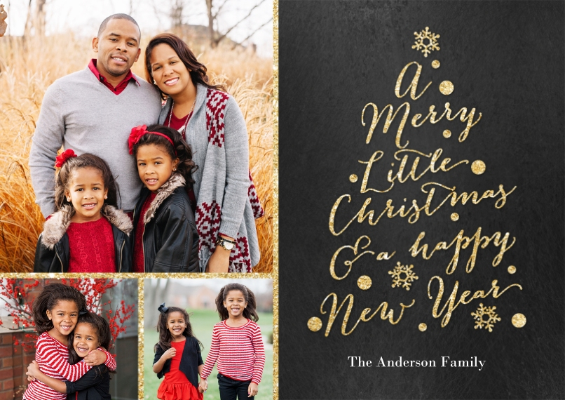 Christmas Photo Cards 5x7 Cards, Premium Cardstock 120lb with Scalloped Corners, Card & Stationery -Christmas Glitter Word Tree