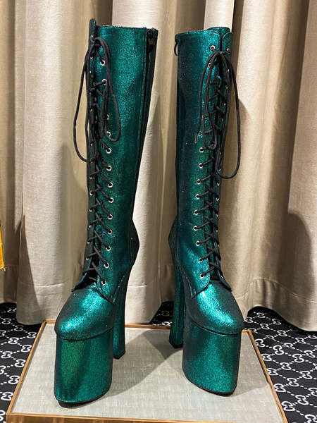 Milanoo Women\'s Knee-High Boots Blue Green PU Leather Round Toe Snake Print Chunky Heel