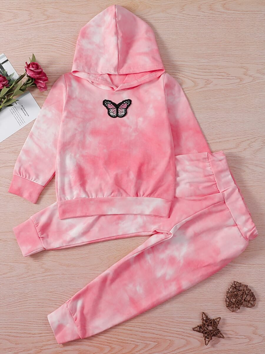 LW Lovely Trendy Hooded Collar Butterfly Pink Girl Two-piece Pants Set