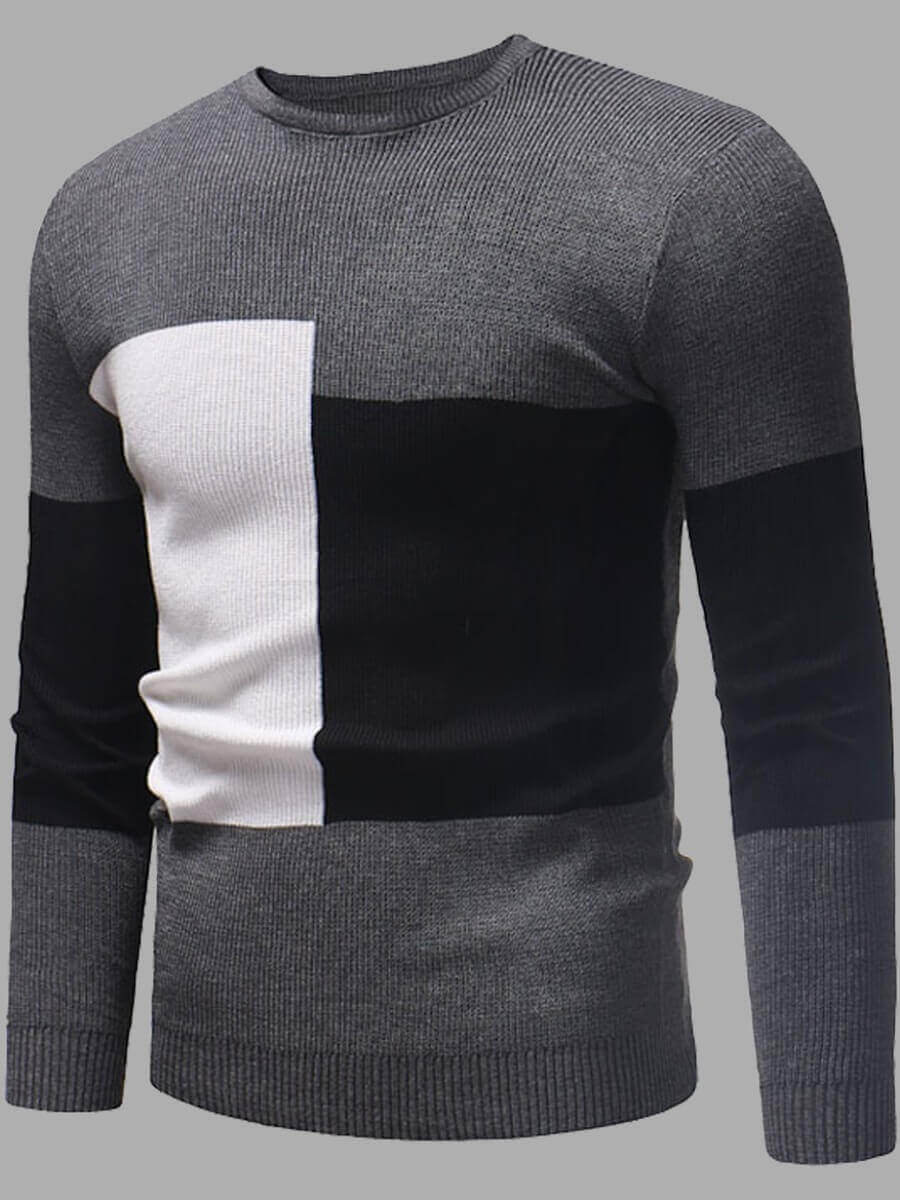 LW Lovely Leisure O Neck Patchwork Grey Men Sweater
