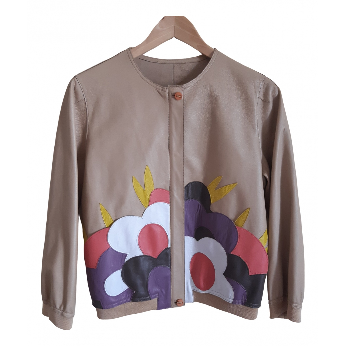 Fendissime \N Beige Leather jacket for Women S International