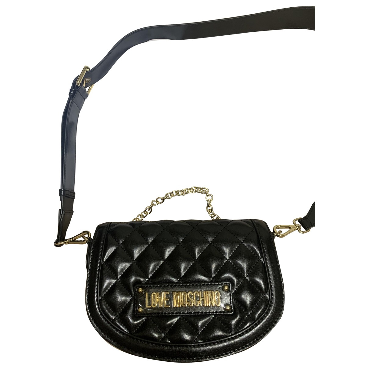 Moschino Love \N Clutch in  Schwarz Lackleder