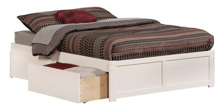 Concord Collection AR8032112 Full Size Platform Bed with 2 Urban Bed Drawers  Casters  Flat Panel Foot Board  Hardwood Slat Kit and Eco-Friendly