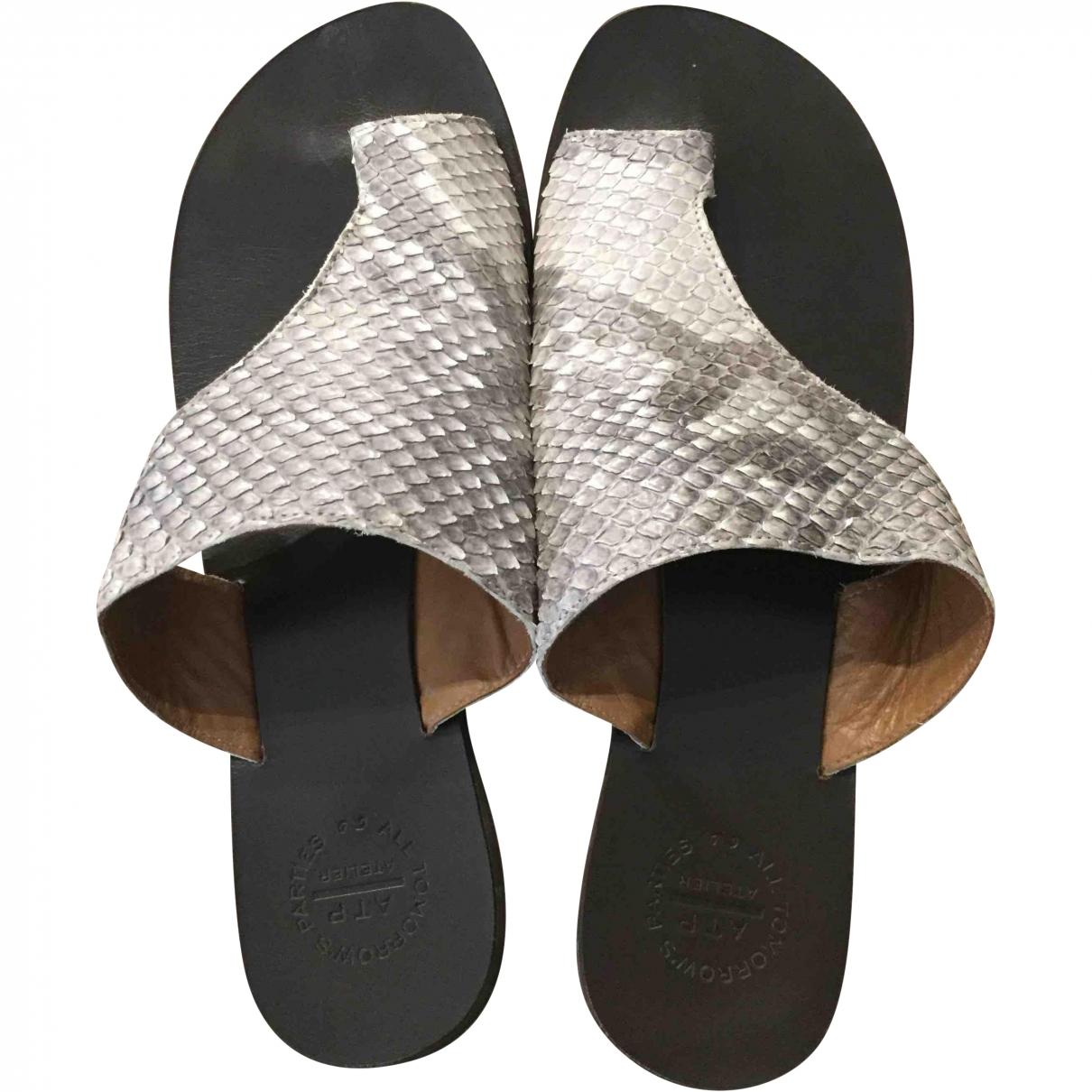 Atp Atelier \N Grey Python Sandals for Women 37 EU