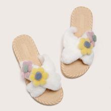 Flower Appliques Criss Cross Fluffy Slippers