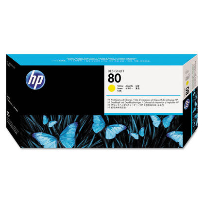 HP 80 C4823A Original Yellow Printhead and Printhead Cleaner