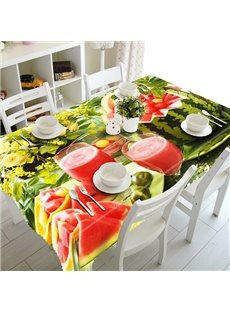 Natural Fruit Juices and Flowers Pattern 3D Tablecloth