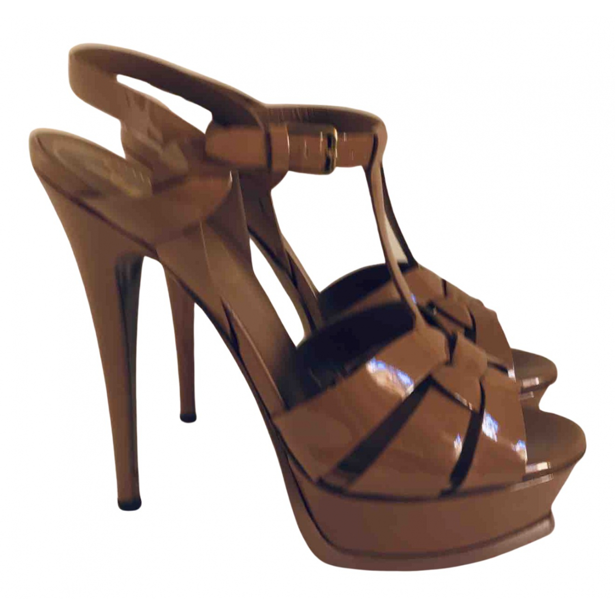 Yves Saint Laurent Tribute Beige Patent leather Sandals for Women 38 EU