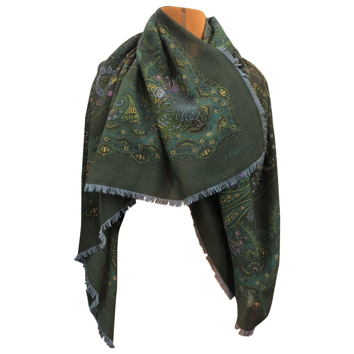 Fendi \N Green Wool Silk handkerchief for Women \N