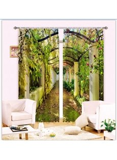 Beautiful Corridor with Green Vines Pastoral Style Custom 2 Panels 3D Curtain