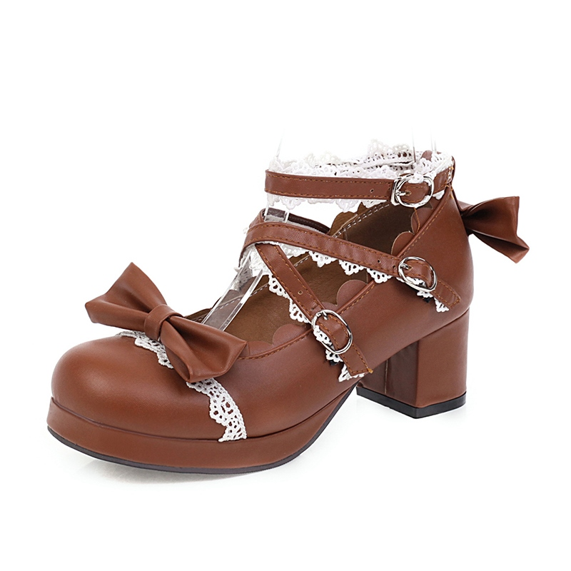 Ericdress Block Heel Line-Style Buckle Round Toe 5cm Thin Shoes