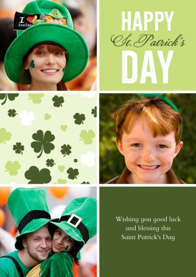 St. Patrick's Day Cards 5x7 Cards, Premium Cardstock 120lb with Scalloped Corners, Card & Stationery -Clover Collage