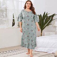 Plus Floral Print Ruffle Hem Night Dress