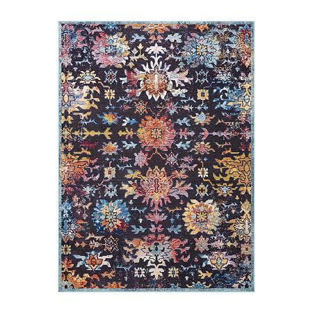 nuLoom Vintage Floral Shawnee Rectangular Rug, One Size , Blue