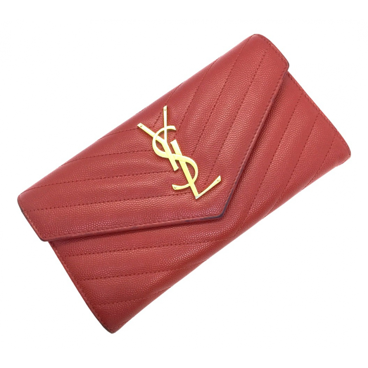 Saint Laurent - Portefeuille   pour femme en cuir - rouge