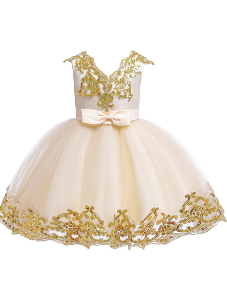 Milanoo Flower Girl Dresses V-Neck Tulle Short Sleeves Knee Length Princess Silhouette Embroidered Kids Party Dresses