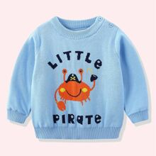 Toddler Boys Letter And Crab Pattern Round Neck Sweater