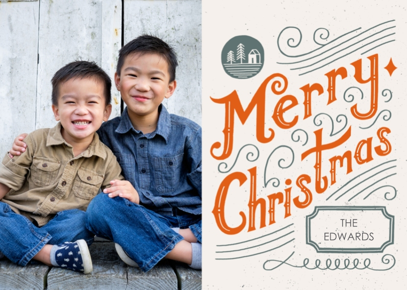 Christmas Photo Cards Flat Glossy Photo Paper Cards with Envelopes, 5x7, Card & Stationery -Seasonal Scribbles