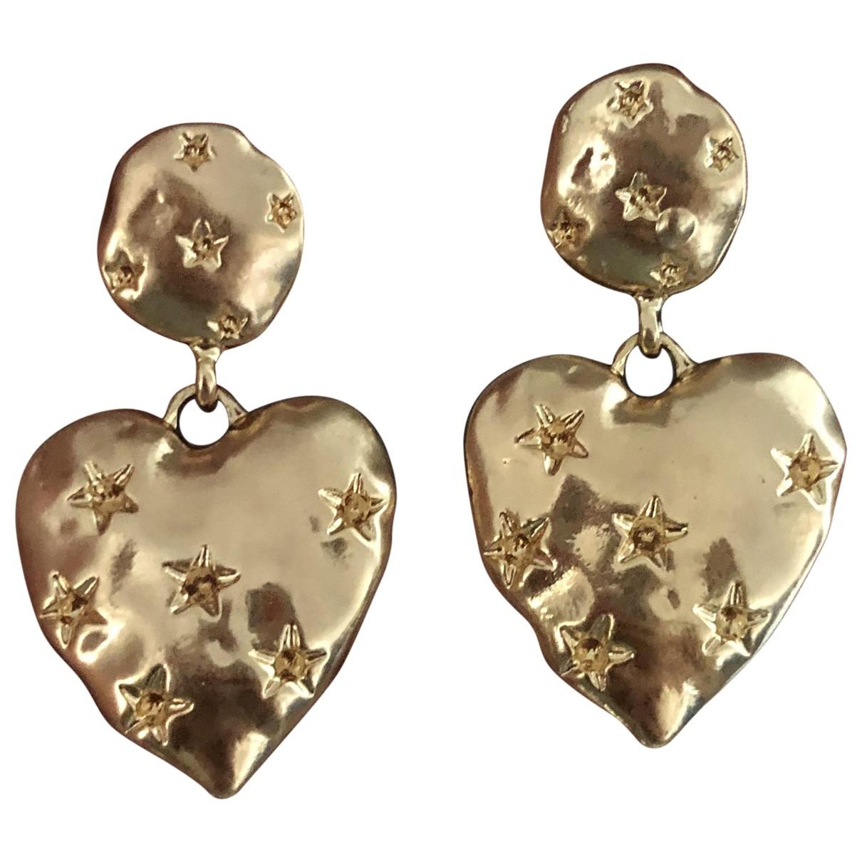 Non Signé / Unsigned Motifs Coeurs Gold Steel Earrings for Women \N