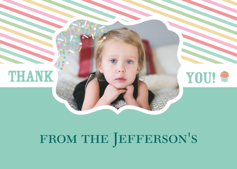 Kids Thank You Cards 5x7 Cards, Premium Cardstock 120lb with Elegant Corners, Card & Stationery -Cupcake Cutie Birthday Thank You Card