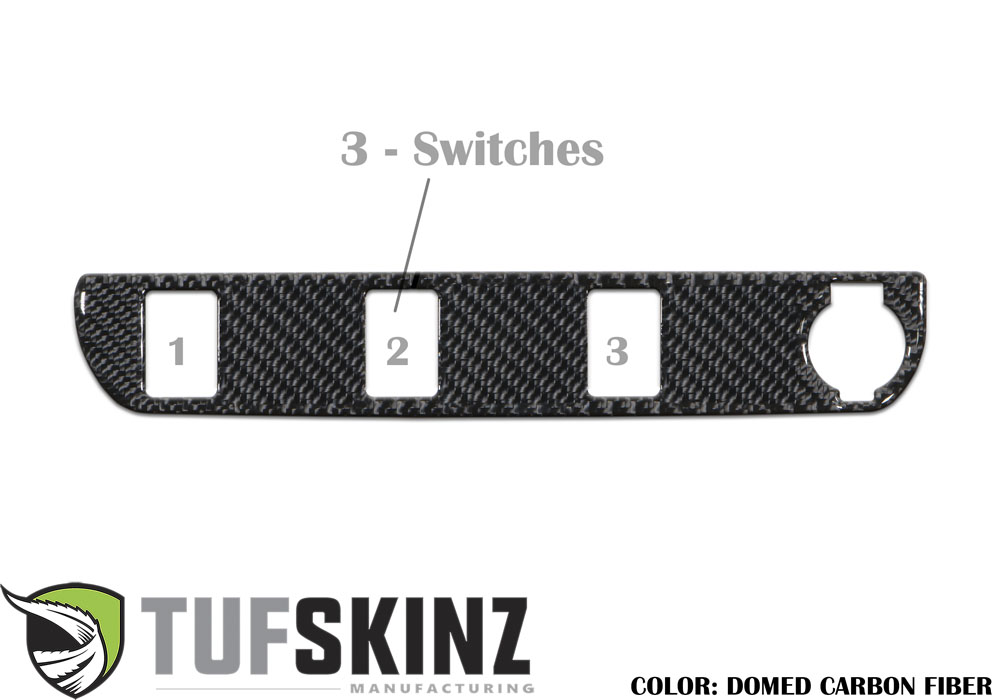 Tufskinz TAC030-DCF-G Center Dash Switch Panel with 3-Switches Fits 16-up Toyota Tacoma 1 Piece Kit Domed Carbon Fiber